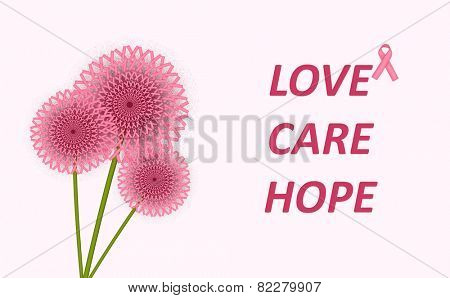 Breast Cancer Care poster, Love Care Hope