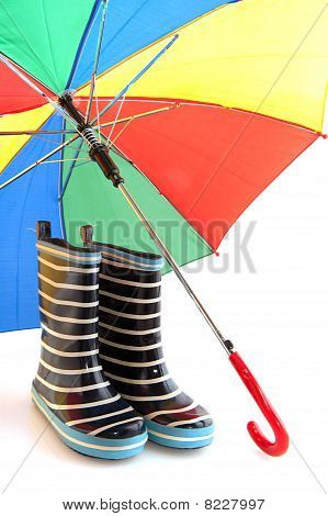 Rubber Child Boots With Colorful Umbrella