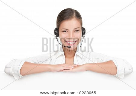 Customer Service Sign Woman With Headset