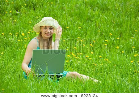 Girl With Laptop Outdoor