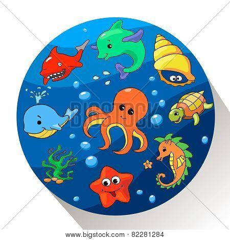 Cute sea creatures set. Vector illustration.