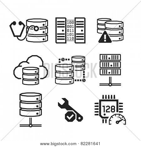 Servers & Databases icons set // BW Black & White