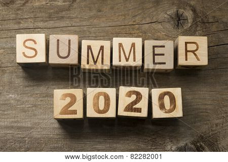 Summer 2020 on a wooden background