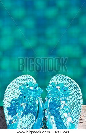 Blue rubber slippers