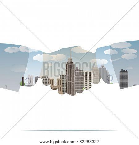 double exposure handshake businessman on city background Vector illustration eps10