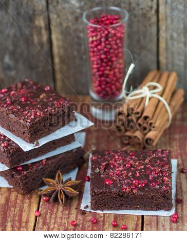 chocolate and pink pepper brownie cakes.  shallow depth of field