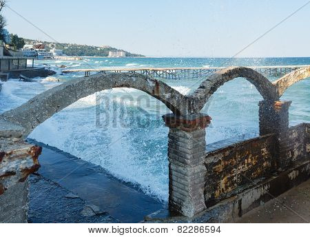 Sea Coast And Splashes Of Surf (bulgaria).