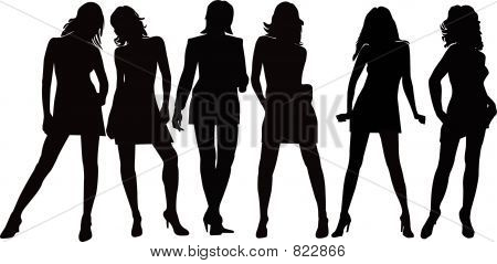 Girls Posing - Silhouette Illustration