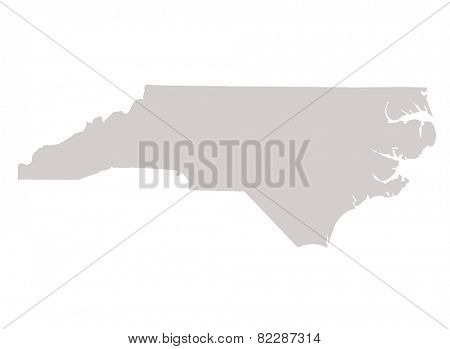 North Carolina State map isolated on a white background, USA.