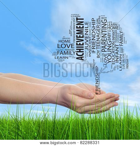 Concept or conceptual black text word cloud tagcloud, tree on man or woman hand on blue sky background and grass, metaphor to child, family, success, education, home, love and school learn achievement