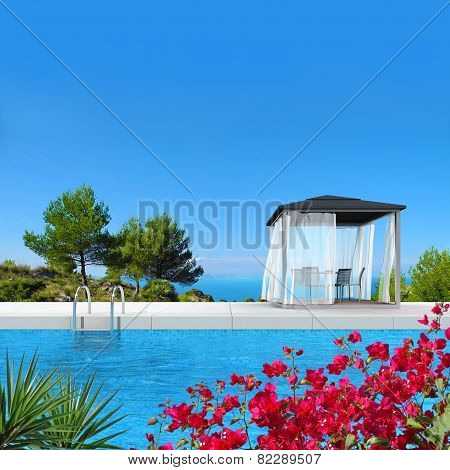 pool with pavilion and bougainvillea