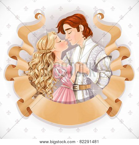 Romantic Scene Of A Fabulous Prince And Princess Kiss Save The Date Card In Old Ribbon Scroll Of Par