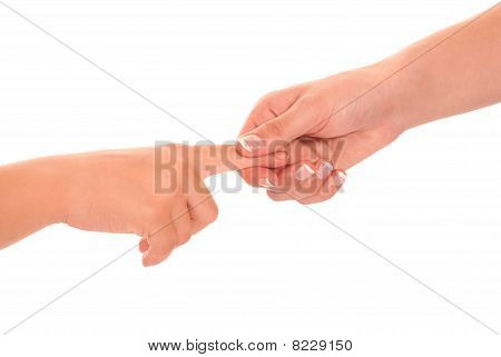 Young Woman And Children Girl Handshake Isolated On White Background.