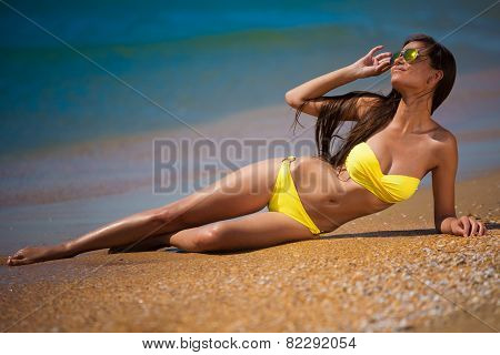 Brunette Woman Yellow Swimsuit Sea