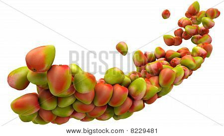 Mango Fruits Flow Isolated Over White