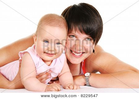 Happy Mother With Baby Portrait