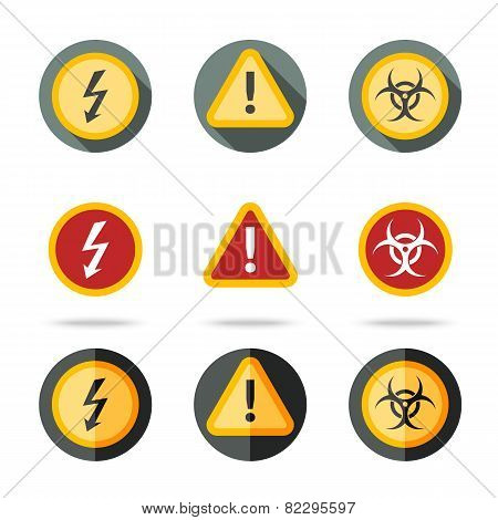 Caution icons set - high woltage, exclamation mark, contamination sign. In different flat styles.