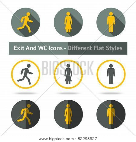Exit and WC icons set. In different flat styles.