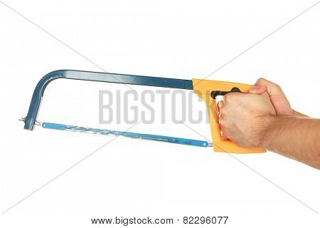 Male hand with hacksaw isolated on white