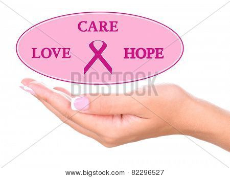 Female hand holding text cloud isolated on white, Breast Cancer Concept
