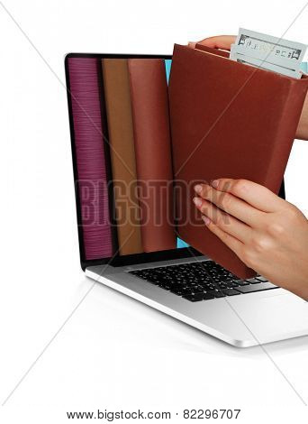E-learning concept.  Digital library - books inside laptop isolated on white