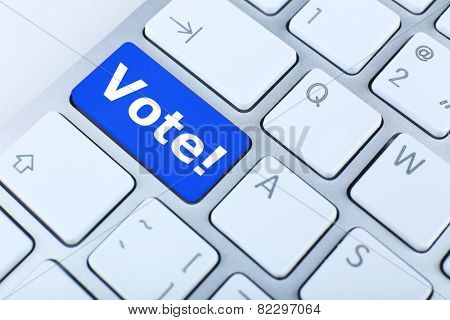 Close up of Vote keyboard button