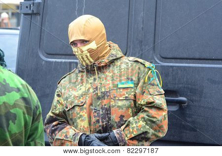 KIEV, UKRAINE - February 2, 2015: Ukrainian nationalists of Battalion