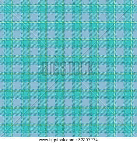 Seamless Blue Tartan Pattern With Yellow Details