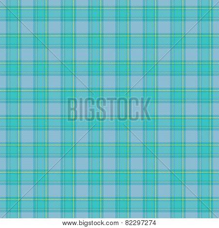 Seamless Blue Tartan Pattern With Yellow Details