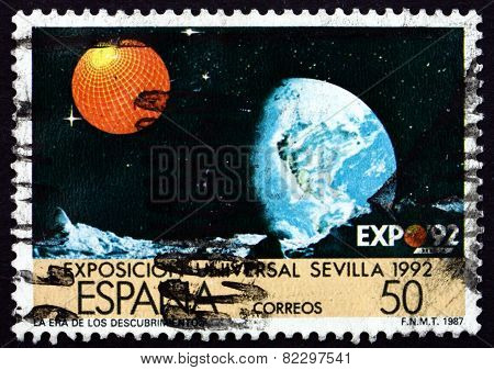 Postage Stamp Spain 1987 Earth, Moon's Surface