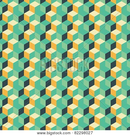 Abstract seamless geometric background with cubes