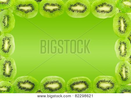 Frame Of Kiwi Fruit Slices Isolated On A Gradient Green Background