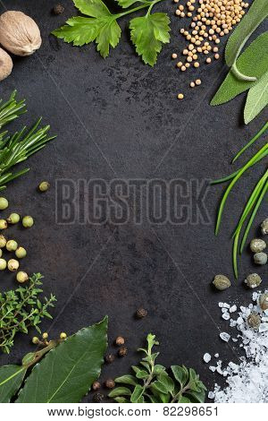 various herbs and spices arranged as a frame on an old metal tray, copyspace