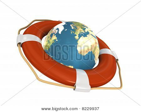 Life Belt With Earth.