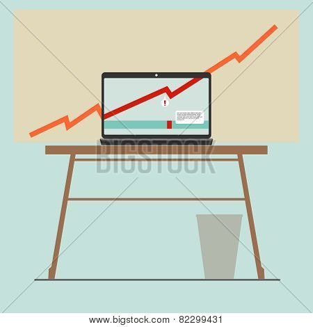 chart on laptop