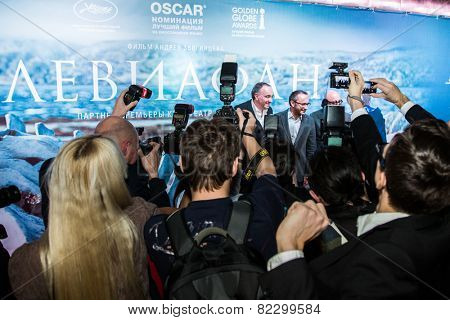 MOSCOW - JANUARY, 28: A Rodnyansky, A. Zvyagintsev, S. Melkumov. Premiere of the movie Leviathan at Moscow Cinema,  January, 28, 2015 in Moscow, Russia