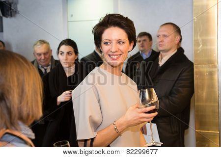 MOSCOW - JANUARY, 28: Anna Zvyagintseva. Premiere of the movie Leviathan at Moscow Cinema,  January, 28, 2015 in Moscow, Russia