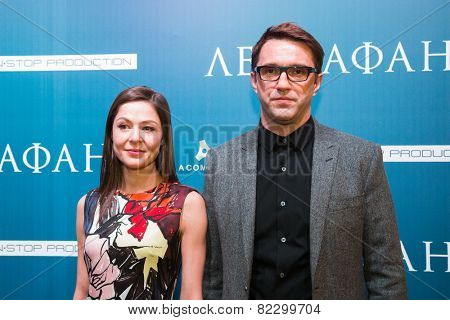 MOSCOW - JANUARY, 28: Actress E. Lyadova, actor V. Vdovichenkov. Premiere of the movie Leviathan at Moscow Cinema,  January, 28, 2015 in Moscow, Russia