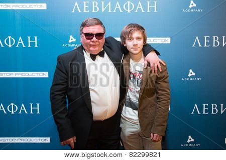 MOSCOW - JANUARY, 28: Actors R. Medyanov, S. Pokhodaev.  Premiere of the movie Leviathan at Moscow Cinema,  January, 28, 2015 in Moscow, Russia