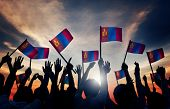 pic of mongolian  - Group of People Waving Mongolian Flags in Back Lit - JPG