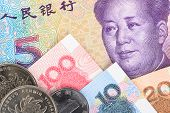 stock photo of yuan  - Chinese or Yuan banknotes money and coins from China - JPG