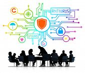 stock photo of antivirus  - Silhouettes of Business People and Antivirus Concept - JPG