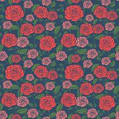 pic of blue rose  - elegant seamless floral pattern with roses over blue - JPG