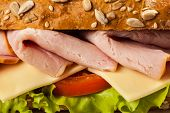 image of tomato sandwich  - Ham sandwich with lettuce - JPG