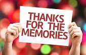 picture of thankful  - Thanks for the Memories card with colorful background with defocused lights - JPG