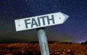 foto of extremist  - Faith sign with a beautiful night background - JPG