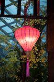 stock photo of gazebo  - Pink lantern hanging on display from a wooden gazebo - JPG