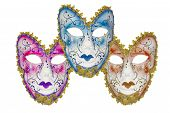 pic of venetian carnival  - Carnival mask set blue pink biege Christmas New year Venetian white background isolated object  - JPG