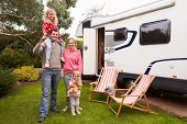 image of campervan  - Family Enjoying Camping Holiday In Camper Van  - JPG