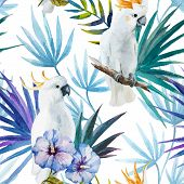 picture of tropical plants  - Beautiful watercolor vector tropic pattern with white parrot - JPG